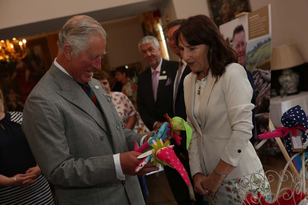 HRH-being-presented-with-handmade-dolls-by-Angelika-Herold-of-Angels-and-Elfs-a-new-business-from-PRIME-Cymru-Awards-2017
